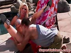Sexy blonde with big boobs rides enormous cock nasty blonde slut fucked hard outdoor creampie cowgirl