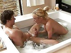 Bathroom Blondes Massage blowjob cumshot facial gel jacuzzi nuru skinny sliding