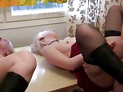 FFM Threesome black stockings blonde pussy tattoo