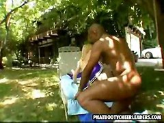 blonde outdoor interracial oiled doggystyle cheerleader ontop bigblackcock pussyfucking