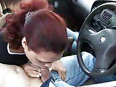 Car Outdoor blowjob public sex redhead