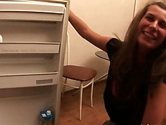 Beauty Girl With Awesome Tits Gets A Fuck In The Kitchen