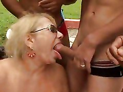 Gang Bang Outdoor mature blowjob red stockings