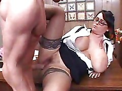 Big Tits Office boots glasses stockings