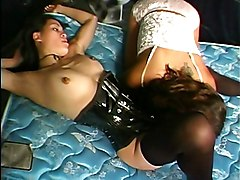 Lesbian Asian Asian Black-haired Lesbian Licking Vagina Oral Sex Shaved Stockings Strap-on Tammy Lee