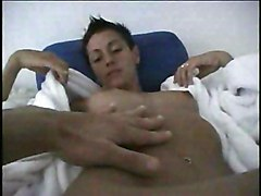 MILF POV Black-haired Blowjob Caucasian Couple Cum Shot MILF Oral Sex POV Skinny Small Tits Vaginal Sex