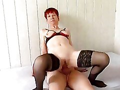 Mature Stockings redhead riding
