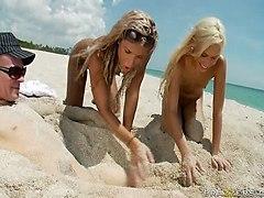 Kacey And Kara Blonde Beach Brats Get Blasted
