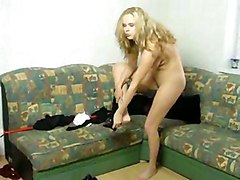 Blonde Blonde Caucasian Maid Solo Girl Striptease