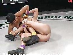 Lesbian Strapon Wrestling