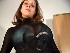 brunette shaved food busty bigtits stripping teasing hugetits cream messy
