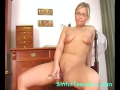 blonde thong teacher glasses toy masturbation solo stripping highheels teasing skirt glassdildo pussyrubbing