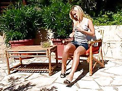 Outdoor Upskirt blonde boobs strip