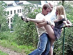 Outdoor Public nudity blonde suck dick non nude threesome fucking