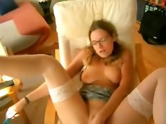 amateur homemade wife girlfriend glasses stockings anal pov toys butt plug