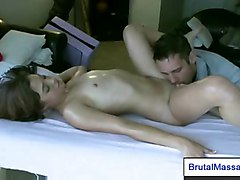 petite massage brunette oil fingering