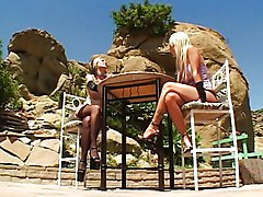 Horny Blondes Licking And Dildoing