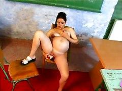 Masturbation Brunette Caucasian Masturbation Pregnant School Shaved Solo Girl Toys Vaginal Masturbation