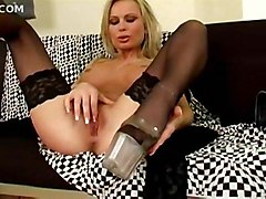 stockings blonde milf masturbation solo highheels teasing softcore