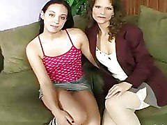 Moms and Teens Threesome ffm mom and doughter fuck riding stockings