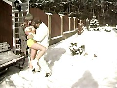 amateur teen lovers fuck after snow ball fight