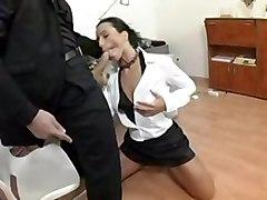 anal cumshot blowjob brunette trimmed sofa pussylicking asstomouth highheels pussyfucking office