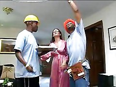 Black Construction Workers Double Drill A Home Owner