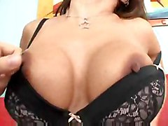 shot milf cum throat deep tits mom brunette anal blowjob