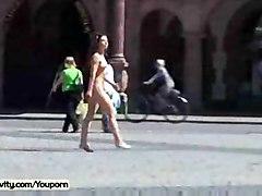 brunette solo teasing public exhibitionist