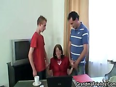granny mature mom older office threesome