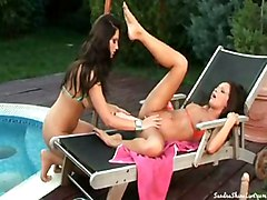 Lesbian Bikini Black-haired Brunette Caucasian Lesbian Licking Vagina Masturbation Oral Sex Outdoor Pool Pornstar Shaved Toys Vaginal Masturbation Sandra Shine