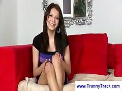 Gorgeous Brunette Tranny In Underwear