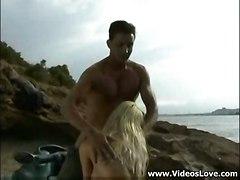 cumshot hardcore blonde outdoor blowjob beach pussyfucking