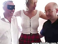 Housewives Threesome blonde mmf wife