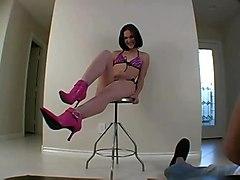 teen bikini brunette young smalltits sologirl solo topless highheels softcore photoshoot