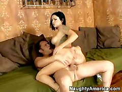 Black-haired Caucasian Couple Shaved Tattoos Vaginal Sex