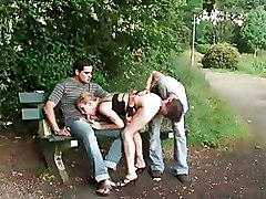 Outdoor Threesome mmf public sex