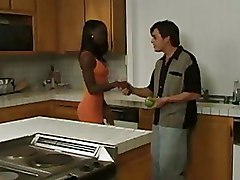 Interracial Kitchen blowjobs pussy licking