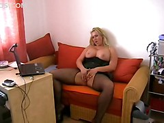 stockings blonde bigtits masturbation solo sextoys