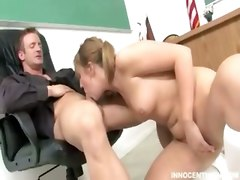 Cute Little Blonde Teen Blowing And Riding Her Teachers Cock