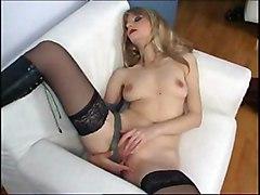 Masturbation Blonde Blonde Caucasian Masturbation Shaved Solo Girl Stockings Tattoos Vaginal Masturbation