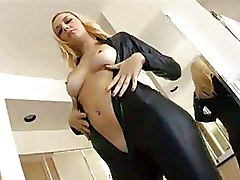 Latex MMF Threesome blonde blowjob groupsex hardcore