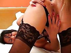 Lesbian Pissing dildo lingerie milfs