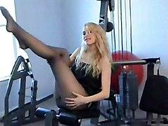 Blonde Blonde Caucasian Fetish Glamour Gym Pantyhose Solo Girl