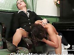 Lesbian Moms and Teens glasses schoolgirl white stockings