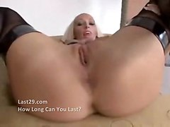 stockings cumshot hardcore blonde blowjob shaved POV pussyfucking