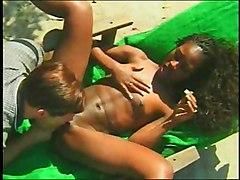 Ebony Interracial Black-haired Blowjob Couple Cum Shot Ebony Interracial Licking Vagina Oral Sex Small Tits Vaginal Sex