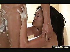 Asian Massage blowjob cumshot handjob jacuzzi nuru pussyrub soapy
