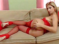 Lingerie Red blonde softcore solo stockings