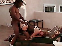 Granny Interracial doggy style old stocking